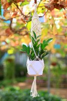 2017 Parete decorativa Hanger Flowerpot Holder Hand Knitted Hanging Basket Corda di cotone con Macrame Figure of Princess