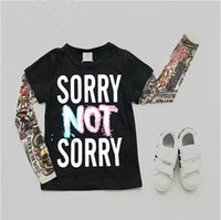 Wholesale Tattoo Sleeve Children - Children Tattoo Print T Shirts Mesh Sleeve Baby Boys Girls Cotton Tops Kids Tees 2016 Autumn New Arrival