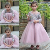 Wholesale Three Quarter Sleeve Organza - Cute First Communion Dresses Applique Flower Girl Dresses Three Quarter Sleeve O-neck A-line Girls Pageant Gowns For Wedding Cheap