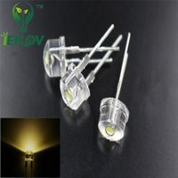 Wholesale Through Hole 8mm - 500pcs High Quality 8mm 0.5W Straw Hat Warm White High Power LED Light Ultra Bright Led Electronic Components light Emitting Diodes