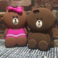 ingrosso cassa del telefono delle cellule orso-Custodia morbida in silicone 3D Teddy Bear in silicone per Iphone SE 5 5S 6 6S Plus 5.5 4.7 Custodia in pelle adorabile Cartoon Bowknot in gomma per telefono I6S