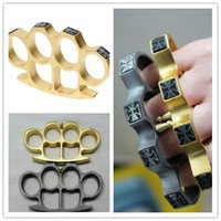 Wholesale Gold Knuckle Rings Clutch - ring tiger 2018 GILDED THICK THICK 13mm STEEL BRASS KNUCKLE DUSTER color Gold plating silver knuckle duster brass knuckle clutch knives self