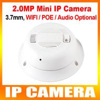 Wholesale Megapixel Cctv Lens - H.264 Mini 2MP Security Smoke Detector IP Camera Hidden 1080P HD 2.0 Megapixel cctv Camera IP 3.7mm Lens P2P ONVIF WIFI POE AUDIO Optional
