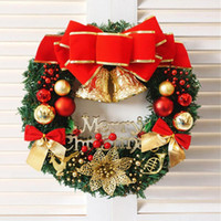 Wholesale Merry Christmas Wreath - 2017 Christmas Ball Bell Garland Merry Christmas Wreath For Home Party Diameter 30-35cm New Year Supplies