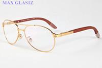 holzbrillen transparent großhandel-Qualitäts-Modemarken-Luxus-Sonnenbrille für Sport-Weinlese-transparente klare Linse übergroße volle Rahmenholzgläser mit Kasten
