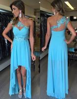 Wholesale Hi Lo Blue Chiffon - Aulrring Blue Laec Applique Chiffon Sleeveless Hi Lo Prom Dresses 2017 One Shoulder Empire Prom Party Dress Vestidos De Baile