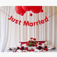 "Wholesale Cardboard Photo Props - 3M Handmade ""Just Married"" Wedding Banner Red Letters Cardboard Garland Photo Booth Props Party Wedding Decorations"
