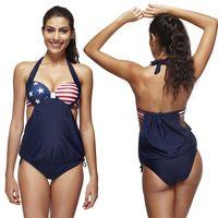 Wholesale American Flag Swim Suits - Women Swimming Bikini 2016 Brazilian Tanga New Plus Size American Flag Swimwear Striped Bathing Suits Bandage Swim Suit Push Up