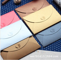 Atacado- Promoção 2016 Top Fasion Papel ordinário Papel Envelopes Card Bag Mini Convite Envelope Case Heart Personalized Business