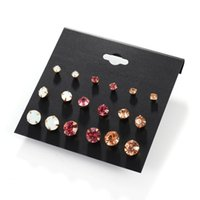 Wholesale Rhinestones Wholesale Different Sizes - 27pairs (9pairs set)Wholesale Multicolor and different size Rhinestone stud earring set for women jelwelry supply