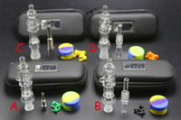 Wholesale Ego Smoking - 1pcs mini Nectar Collector kit with titanium or quartz nail clip wax tool silicon jar ego zipper case glass water bongs smoking pipes