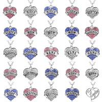 rosa diamantherzhalskette großhandel-Herz Diamant Halskette Familie Briefe Mutter Tochter Nana Halsketten rosa weiß blau Kristall Anhänger für Frauen Kind Modeschmuck