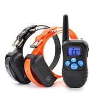Wholesale Dog Two Collar - Hot 100% Waterproof Dog Collar 330 Yards Remote Rechargeable Training Anti Bark E-collar with Beep   Vibration   Shock Electric one to two