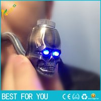 Wholesale Led Smokes - new skull shape metal smoking pipe LED Luminous scalable property metal pipe 3 color