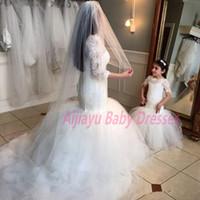 sirena vestidos de nia de la flor nueva llegada piso de longitud de la boda