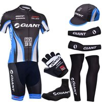 Wholesale Short Finger Bike Gloves - Pro team giant cycling jersey gel pad bike shorts ser with cycling warmers and half finger bike gloves