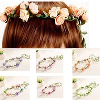 Wholesale Flexible Headbands - Fashion artificial flower green garlands headband women's casual floral hairband green leaves bohemian flexible round crown garlands