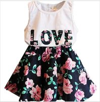 Wholesale Wholesale Girls T Shirt Dresses - 2016 New Summer Girl letter LOVE flower dress suits children cotton lovely Sleeveless vest T-shirt + floral skirt 2pcs suit baby clothes