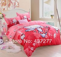 Wholesale Girls Reversible Clothes Set - Hello Kitty queen size bedding for girls children cotton reversible duvet cover bed clothes bed sheet comforter set home textile