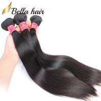 perulu saç ücretsiz gönderim toptan satış-Bella Hair® Factory Toptan BrazilianHair 8A Ipeksi Düz Hint Saç Demetleri Malezya Kamboçyalı Perulu Bakire Saç Ücretsiz Nakliye