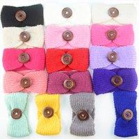 Wholesale Knit Headwrap Button - 16COLORS New Baby Girls Fashion Wool Crochet Headband Knit Hairband With Button Decor Winter Newborn Infant Ear Warmer Head Headwrap