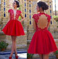 Wholesale Plunge Mini Dress - Cap Sleeves Red Lace Homecoming Dresses 2017 Open Back Short Cocktail Dresses Sheer Plunging Neckline Party Wear Gowns