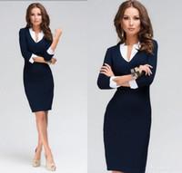 Wholesale Midi Dress Designs - Blue Women Dress Deep Patchwork Design 3 4 Sleeve New Causal Dress For Office Work Female Ladies bandage Pencil Midi Dress