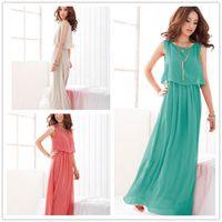 Wholesale Elegant Rhinestone Long Dresses - Classic Hot Bohemia solid color flouncing elegant long dress Dress DFML116,free shipping ummer dresses for women