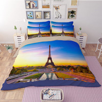 Wholesale Comforter Sets Queen Eiffel Tower - 3D Bedding Set Eiffel Tower Pattern Queen Size Home Textiles Duvet Covers Bed Linen Pillow Cases Wholesale Twin Full Queen King Size 4pcs