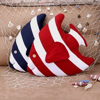Wholesale Cushions For Sofa Red - New mediterranean striped fish decorative pillow for sofa or car creative home furnishing cushion with cotton pillow IC723