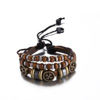 Wholesale Cross Bead Charms Cheap - 2016 Hot Cross Leather Bracelet with Wood Bead Charm Vintage Style Pretty Christmas Gift High Quality Cheap Wholesale H023