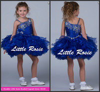 Wholesale cheap cupcake dresses - 2018 Newest Ball Gown Royal Blue Organza Girls Cupcake Baby Pageant Dresses Custom Flower Girls Dress Cheap Sale