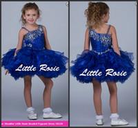 satılık mavi toplar toptan satış-2018 Yeni Balo Kraliyet Mavi Organze Kız Cupcake Bebek Alayı Elbiseler Özel Çiçek Kız Elbise Ucuz Satış