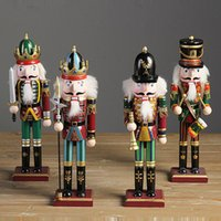 Wholesale Nutcracker Gifts Wholesale - 4pcs lot Nutcracker Puppet Soldiers Wooden Home Decorations for Christmas Creative Ornaments and Feative and Parrty Christmas gift 30cm