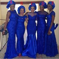 ingrosso trasporto veloce più i vestiti di formato-Mermaid Royal Blue Lace Crew Molti stili all'ingrosso Plus Size abiti lunghi da damigella d'onore 2019 eleganti abiti da sera partito veloce spedizione