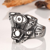 Moda Marca Homens Anéis Skull Head Ring Stainless Steel Jóias Homens Anéis Drive Engine Harley Motor Heavy Metal Party Men Ring