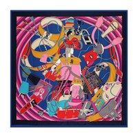 Wholesale Pink Paisley Pashmina - 130cm*130cm 100% Silk Euro Brand Style Fashion Paris Girl Handbag and Belt Printed Silk Square Scarf Femal Fashion Shawls