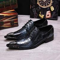 Wholesale Designer Career Dresses - Luxury Designer Men Business Leisure Leather Shoes Fashion Lace Up Python Pattern Office Career Pointed Toe Dress Shoes 38-46
