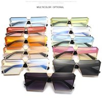 Wholesale tint sunglasses online - 11 Colors Fashion Oversized Flat Top Square Sunglasses Unisex Brand Design Beach Flat Mirror Tinted Color Shade Metal Eyewear CCA7335