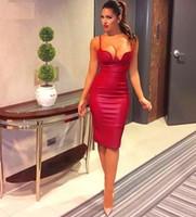 Wholesale Kim Kardashian S Black Dresses - 2016 Women summer pu leather dress BUSTIER PENCIL celebrity sexy bodycon party dresse nude pink red black kim kardashian dress