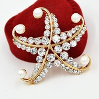 Wholesale Celtic Brooch Bouquet - Lovely Alloy Starfish Brooch Stunning Clear Crystals And Faux Pearl Women Gift Broaches Pins Wedding Bridal Bouquet Jewelry Pins