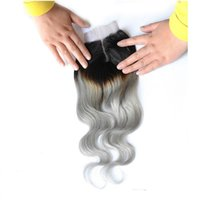 Wholesale peruvian closure for sale resale online - 4 Ombre Lace Closure Middle Part T1B Grey Brazilian Body Wave Top Closure Two Tone Human Hair For Sale inch