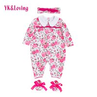 Wholesale Girls Overall Jumpsuit Romper - 2017 Flower Newborn Romper Baby Girl Clothes Pink Long Sleeve Cotton Body Overalls with Headband Autumn winter Girl Infant Jumpsuit Clothing