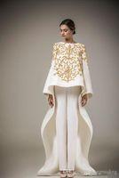 Wholesale Abaya Embroidered - 2016 Ashi Studio Gold Embroidery Evening Gown Long Sleeves A-Line Pants Caftan Satin Arabic Formal Dubai Abaya (including pants ,free)