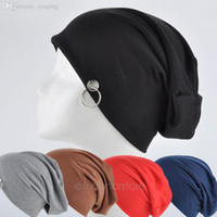 Wholesale Woolen Caps For Ladies - Wholesale-New Hip Hop Ring Warm Ladies Beanies Hats For Women Men Unisex Skullies Winter Woolen Knitting Hat with big ring YL*MHM723#S8