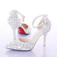 elmas beyaz düğün topuklu toptan satış-Yaz Yüksek Topuklu Kadın Düğün Ayakkabı Beyaz Iki Adet Hollow Elmas Gelin Ayakkabı Kristal Bileklik Renkli Kristal Ayakkabı