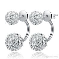 boucles d'oreilles shambhala achat en gros de-Haute qualité boucles d'oreilles en argent véritable tempérament dames boucles d'oreilles diamant Shambhala micro diamants boucles d'oreilles princesse livraison gratuite