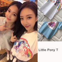 Wholesale Rainbow T Shirt Women - 18ss Luxury Europe Italy High Little Pony Horse Rainbow Tshirt Fashion Men Women T Shirt Casual Cotton Tee Top