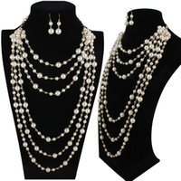 Wholesale Elegant high quality man made pearl long necklace multi layer necklace female accessories for bride fashion
