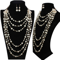 halskette machen zubehör großhandel-Elegante hochwertige künstliche Perle lange Halskette mehrschichtige Halskette weiblichen Accessoires für Brautmode